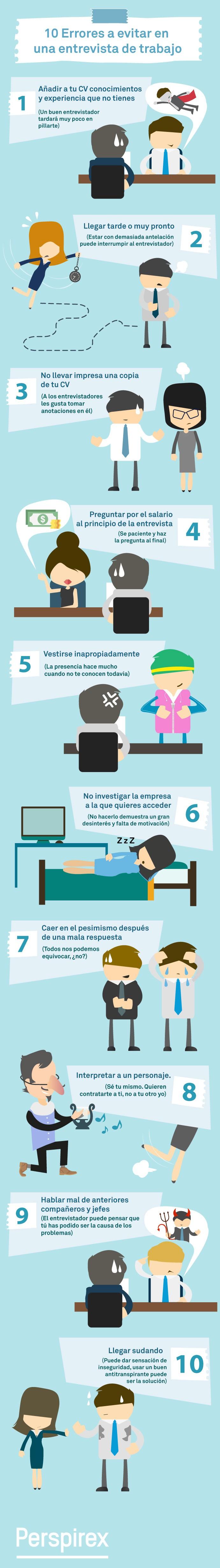 infografia-entrevista-de-trabajo-10 errores a corregir. COACHING. COACH